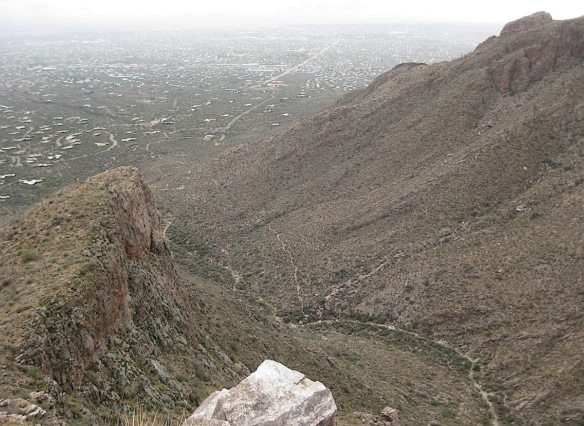 Looking down from the Rosewood Point Area into Pima Canyon - part of the Pima Canyon Trail is visible down in the canyon. November 2011.