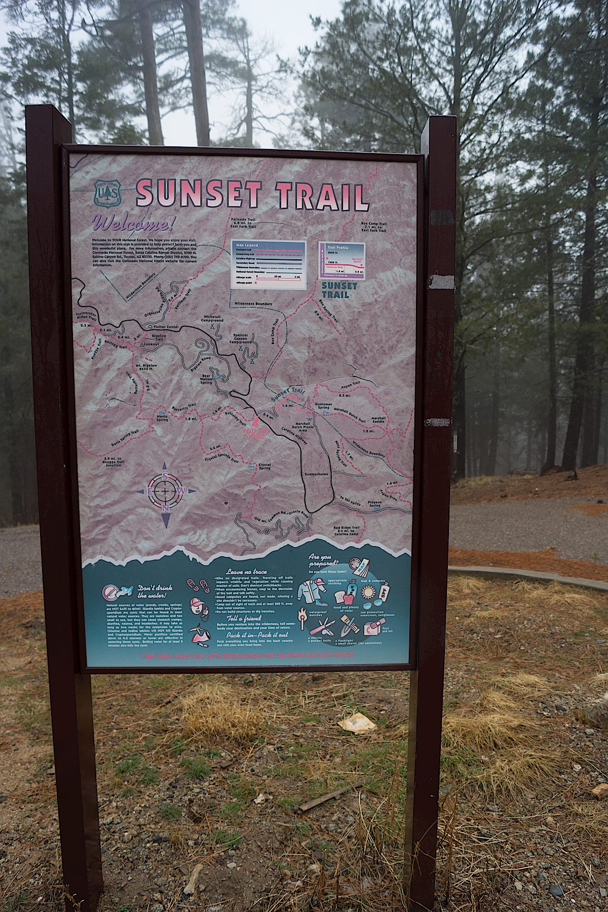 Sunset Trail Trail Map sign. March 2014.